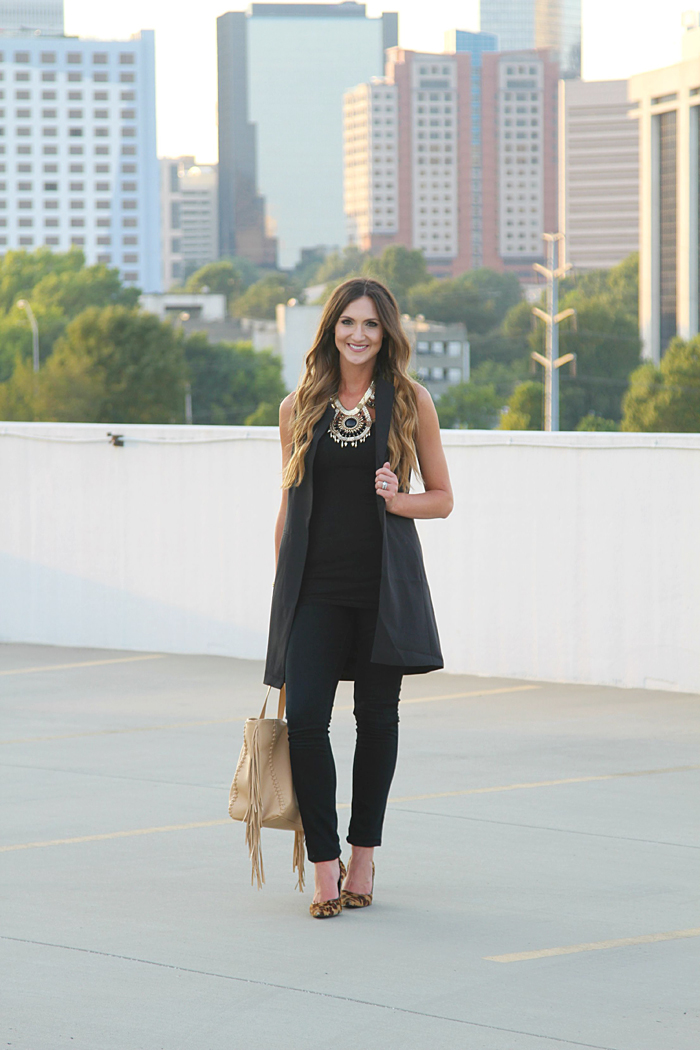 Trench vest, Long Vest, How to wear a long vest, Fall trend, leopard pumps, fringe bag, statement necklace