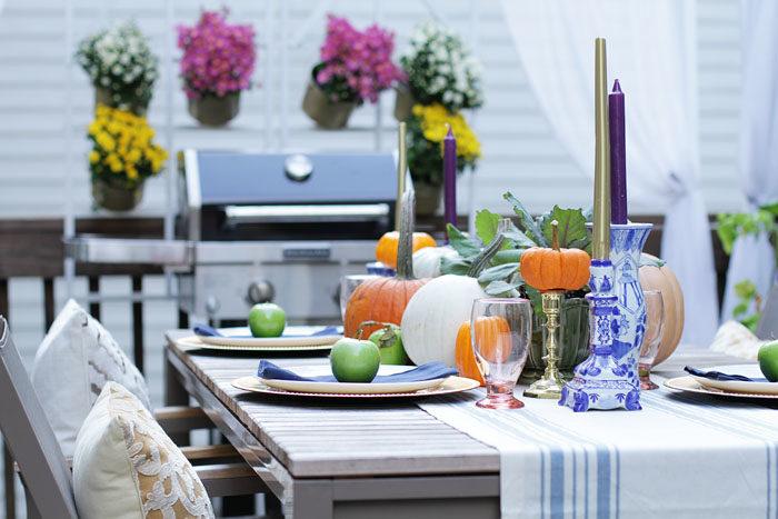 Fall Table, Fall Decor, Tablescape, pumpkins, kale, decor, table setting, rustic