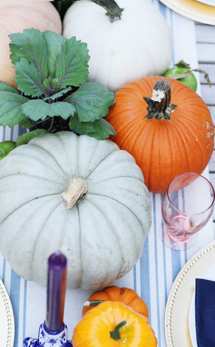 Fall Table, Fall Decor, Tablescape, pumpkins, kale, decor, table setting, rustic