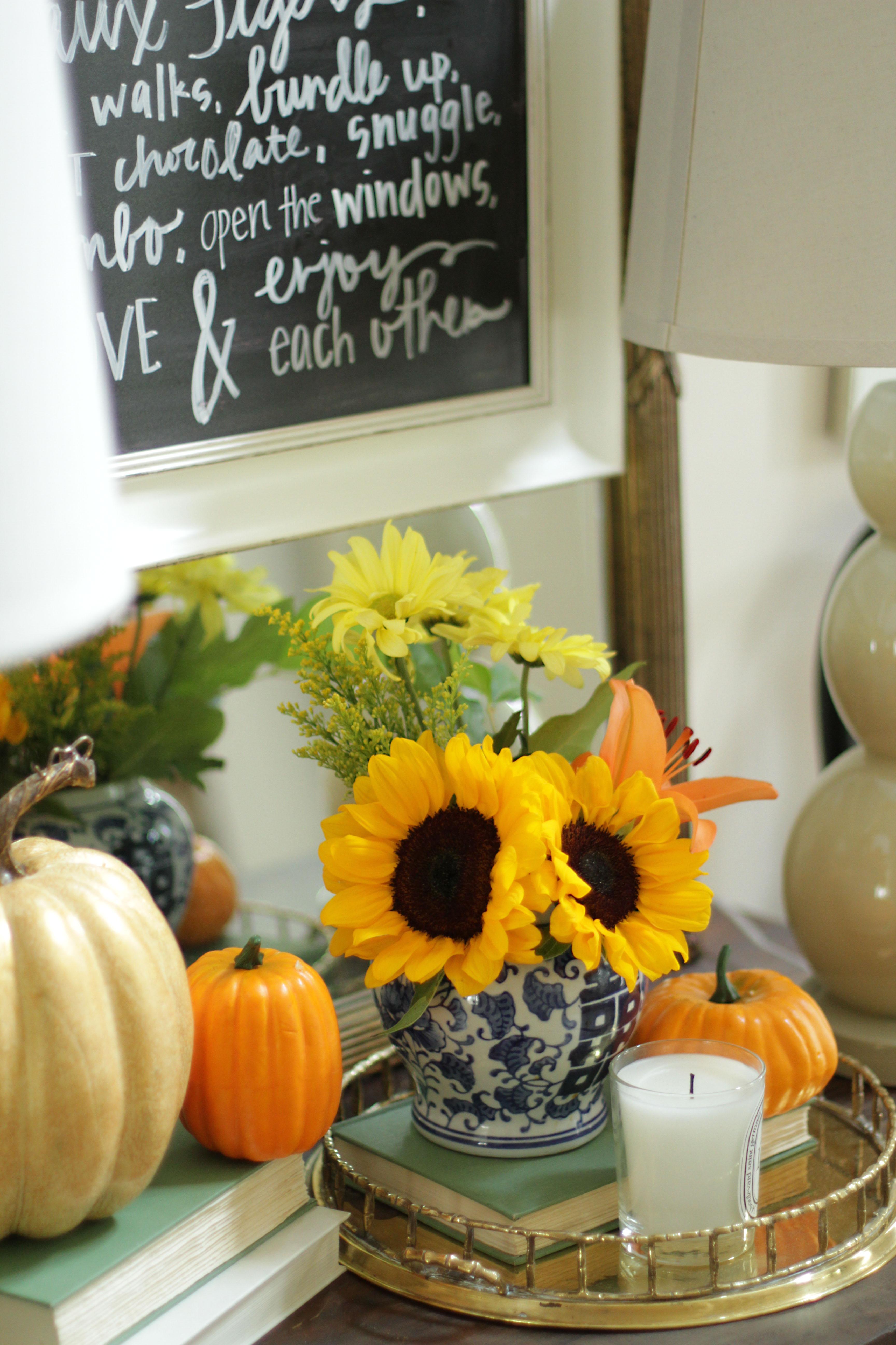 Fall Home Tour, Fall Decor, Pumpkin, Chalkboard Sign, Sunflowers