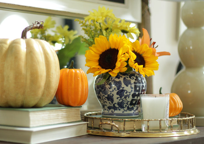 Fall Home Tour, Fall Decor, Pumpkin, Chalkboard Sign, Sunflowers