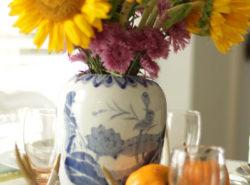Fall Home Tour, Fall Decor, Pumpkin, Chalkboard Sign, Sunflowers, Ginger Jar, Fresh Flowers