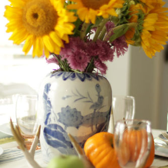 Fall Home Tour, Fall Decor, Pumpkin, Chalkboard Sign, Sunflowers, Ginger Jar, Fresh Flowers