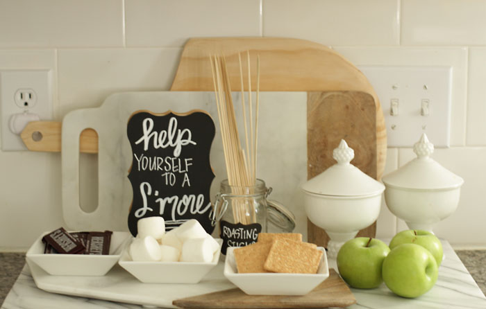 Fall Home Tour, Fall Decor, Pumpkin, Chalkboard Sign, S'mores Bar