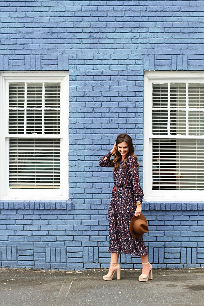 Midi Dress, Floral, Folk, 70's, Fall Style, Trend