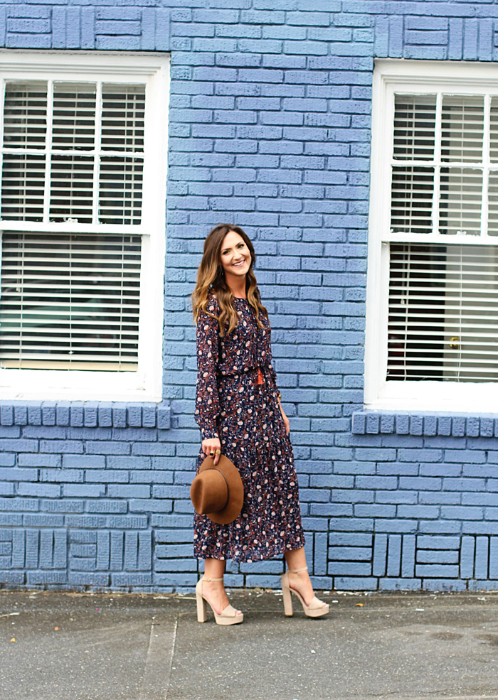 Midi Dress, Floral, Folk, 70's, Fall Style, Trend