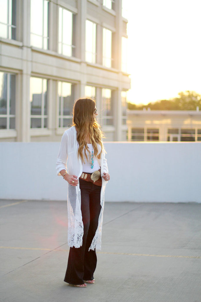 flare denim, lace cardigan, concha belt, fashion blogger