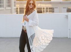 flare denim, lace cardigan, concha belt, fashion blogger