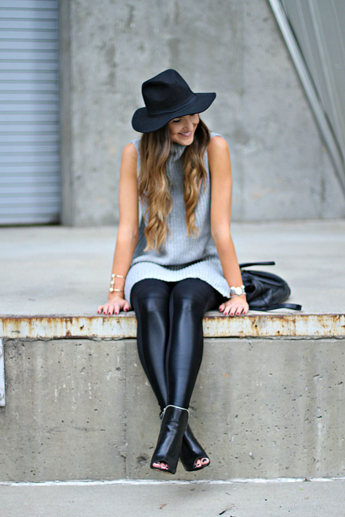 Carbon 38, workout wear, weekend outfit, boho chic, tribal necklace, leopard clutch, leather leggings, felt hat