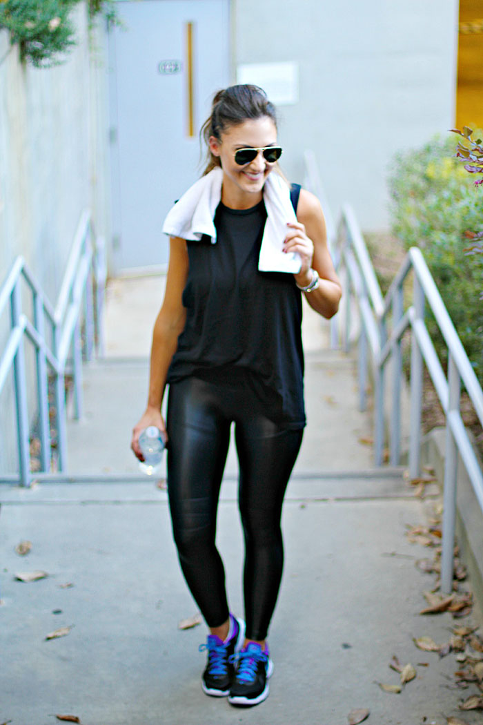 Carbon 38, workout wear, weekend outfit, leather leggings, runner, fitness
