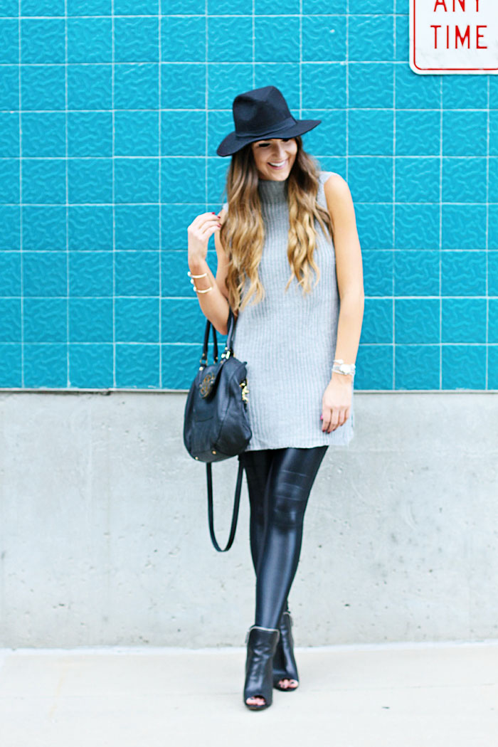 Carbon 38, workout wear, weekend outfit, leather leggings, felt hat