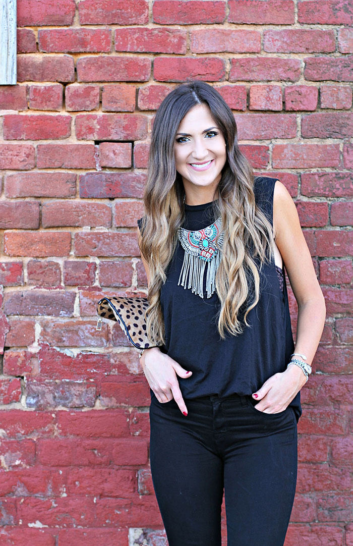 Carbon 38, workout wear, weekend outfit, boho chic, tribal necklace, leopard clutch