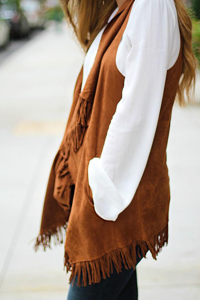 Fringe vest, flare denim, 70's, boho, chic, trend, Fall Trend, Vestique