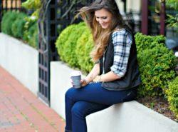 plaid shirt, puffer vest, chukka boots, coffee, skinny jeans