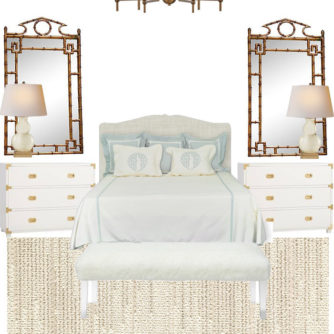 Master Bedroom, Monogrammed Bedding, Campaign Chest, Bamboo Mirror