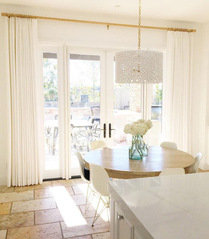 white linen drapes, drapes, gold drapery hardware