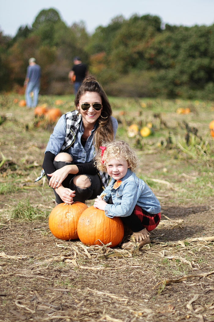 pumpkins, pumpkin patch, plaid vest, mommy and me, fall fun