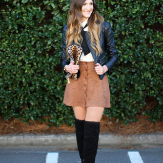over the knee boots, otk, suede skirt, bow top, moto jacket, fashion blogger