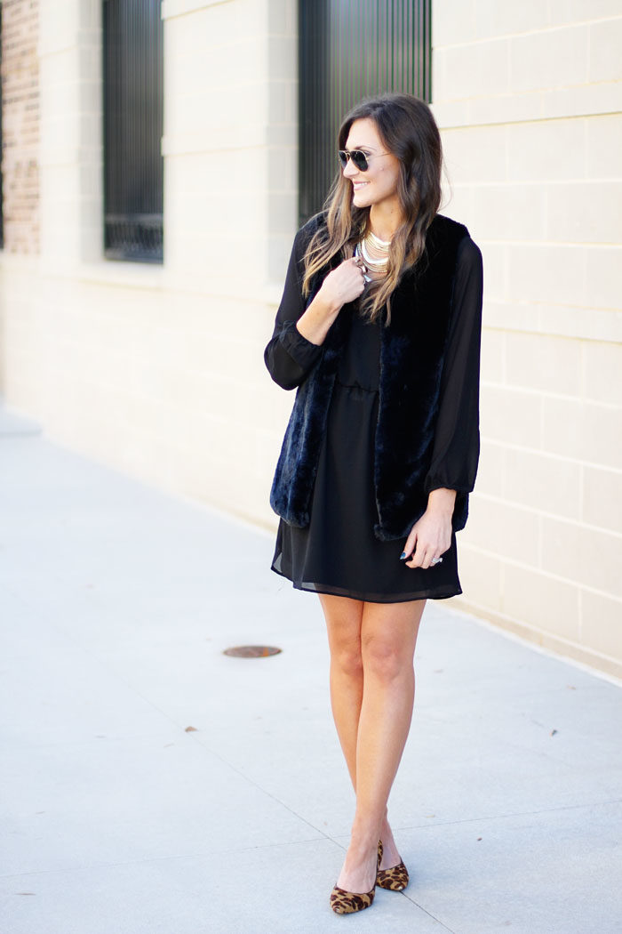 little black dress, fur vest, kendra scott, leopard heels
