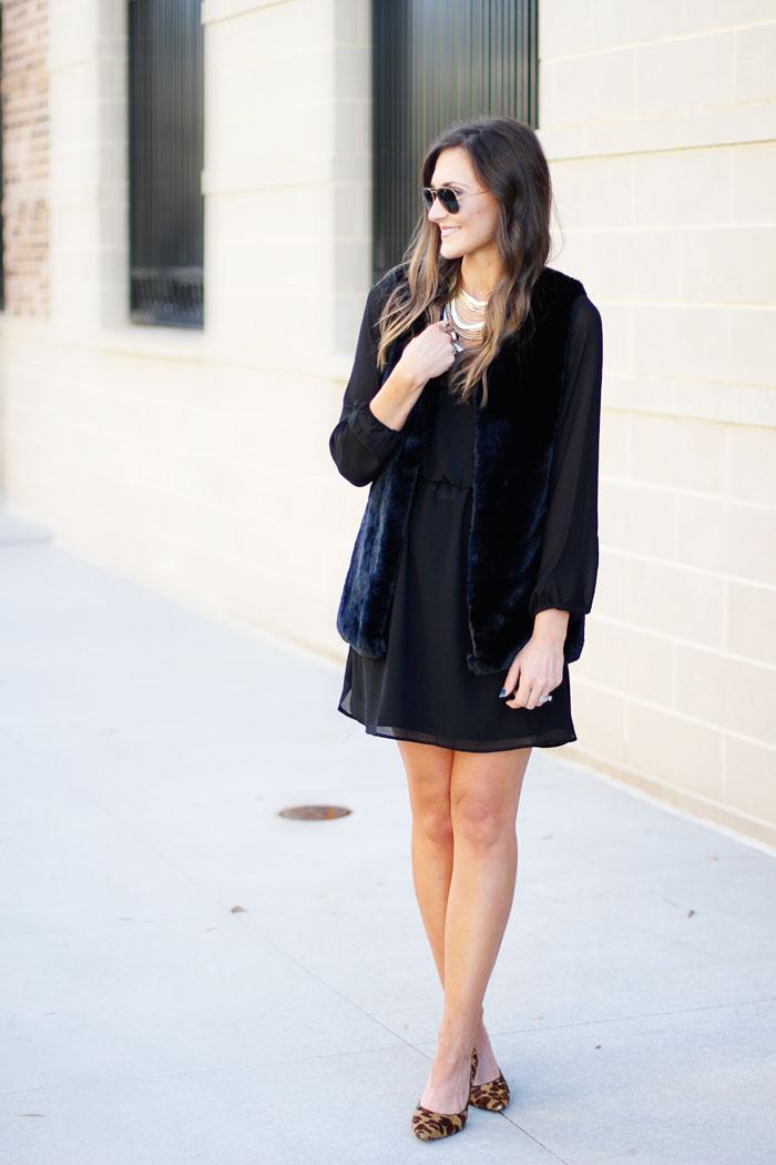 little black dress, fur vest, kendra scott, leopard heels