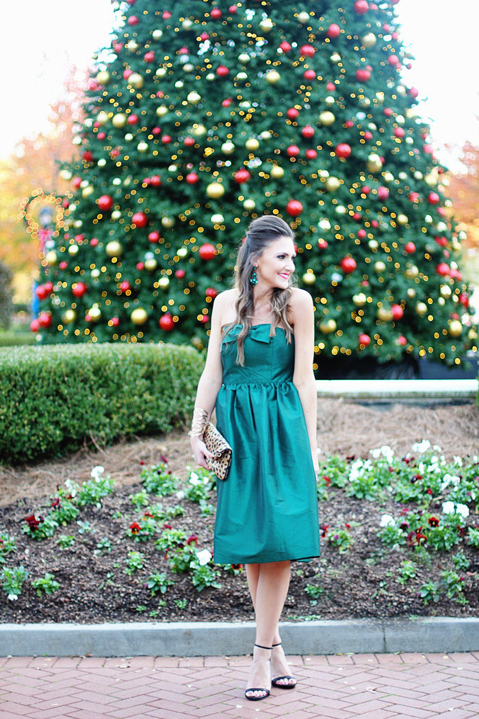 Green dress, party dress, cocktail party, holiday party, christmas
