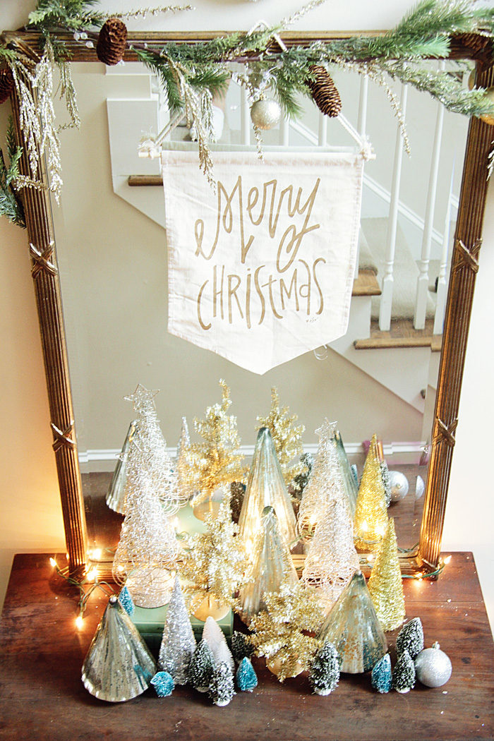 Holiday Home Tour, Blue and White, Bottle Brush Tree, Christmas Tree