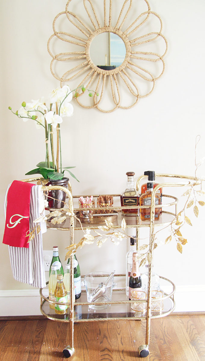 Holiday Home Tour, Blue and White, Bar Cart, Christmas Tree