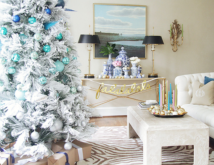 Christmas tree, flocked tree, ombre tree, holiday home tour