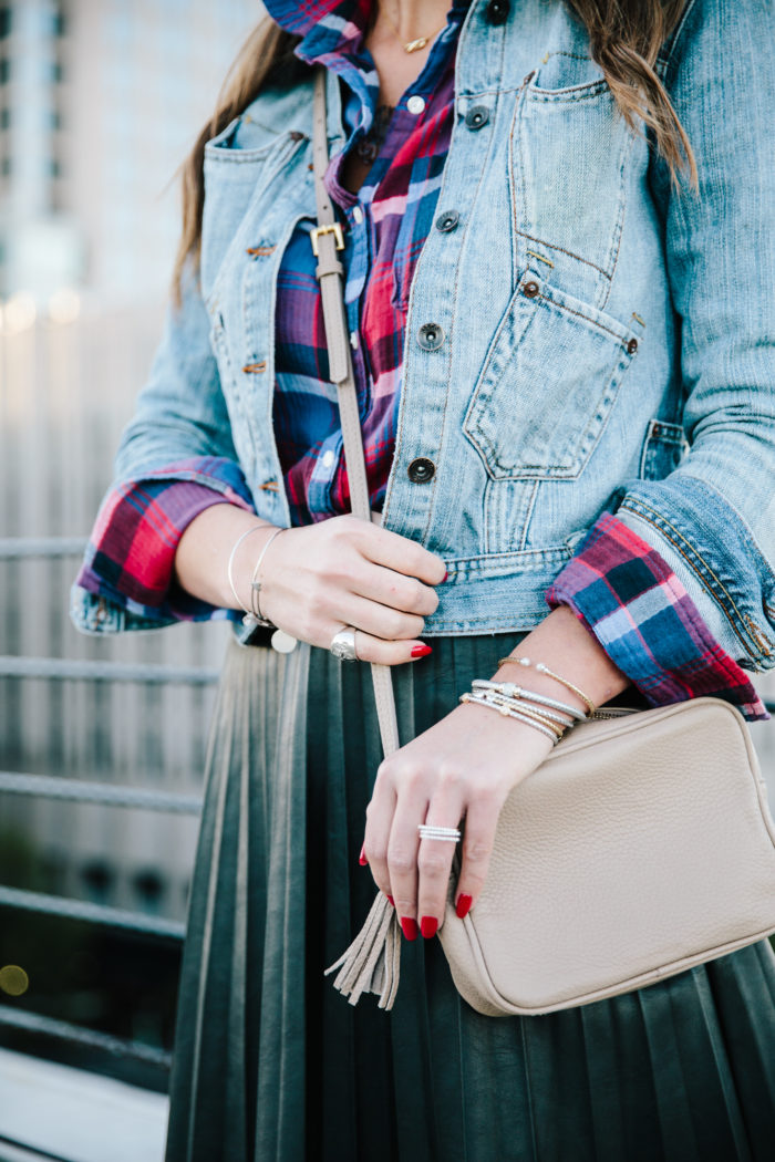 Morrison Smith Jewelers, leather skirt, j. crew, denim jacket, Holiday outfit