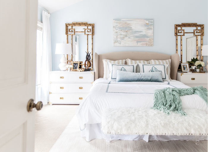 master bedroom, calming, one room challenge, bamboo, monogram, art