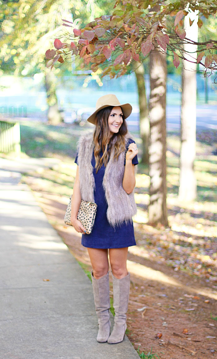 suede dress, wayf, fur vest, suede boots, fall