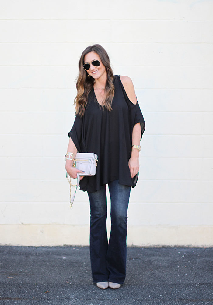 Date night top, show me your mu mu, cold shoulder top, flare denim