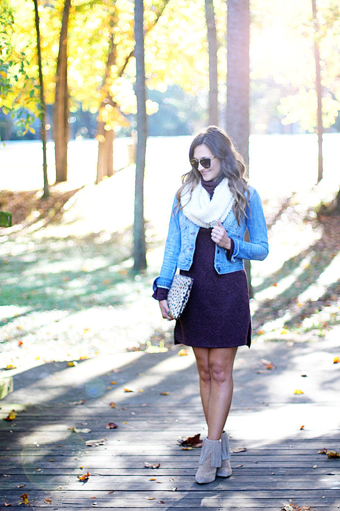 wayf dress, sweater dress, denim jacket, chunky scarf, fringe Booties