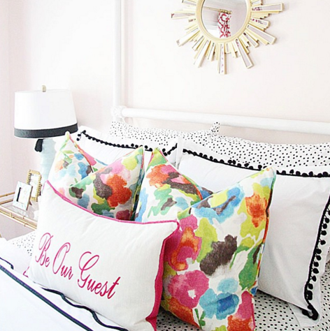 Guest Bedroom, Interior Design, Floral Pillow, Pottery Barn, Sunburst Mirror