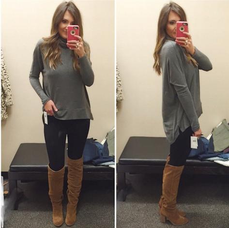 sweater, hi-lo sweater, skinny jeans., otk boots