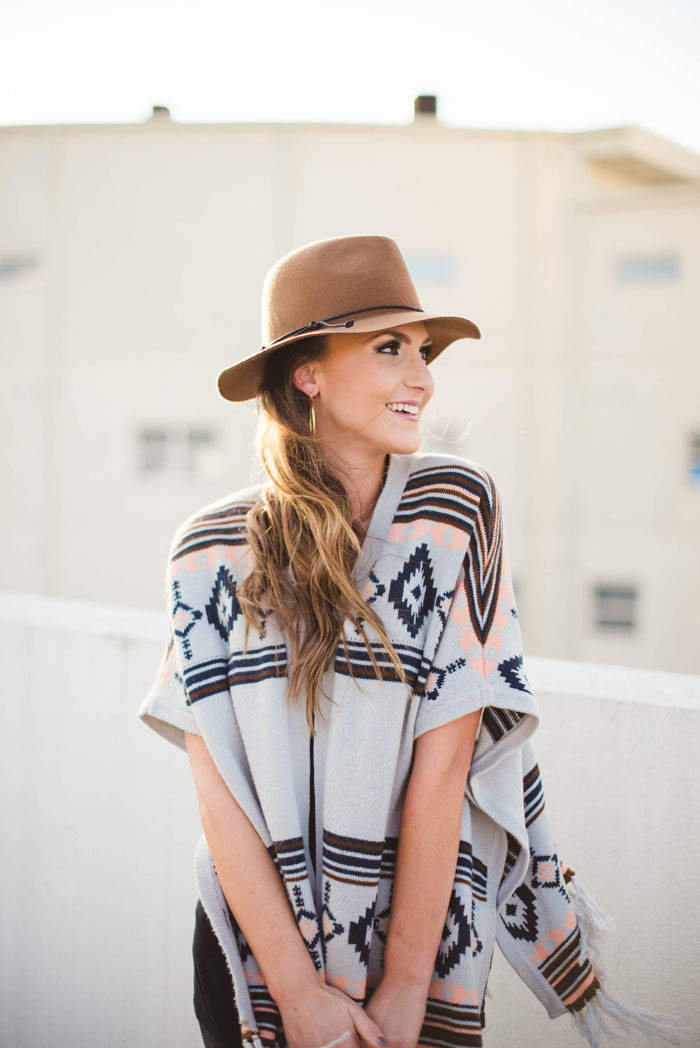 Aztec Poncho, Distressed Denim, Rebecca Minkoff, Fashion Blogger, winter Uniform