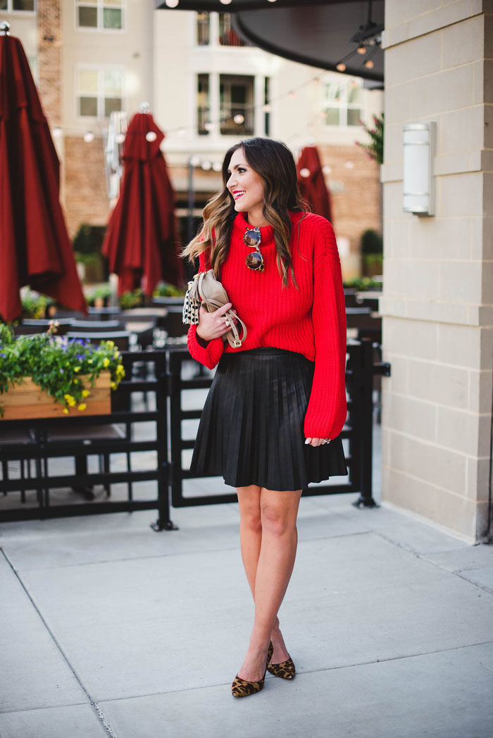 Red Sweater, Valentines Day Outfit, Leather Skirt, Leopard Heels