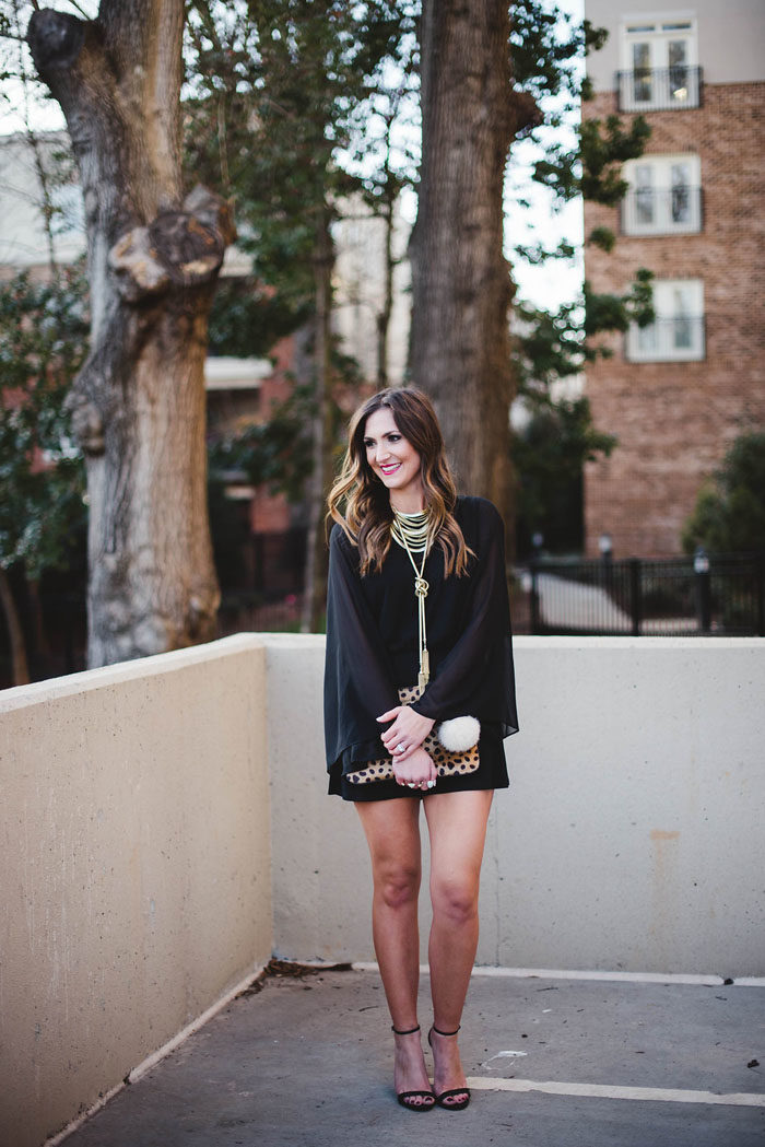 Steve Madden Heels, Gold necklace, black romper, fashion blogger