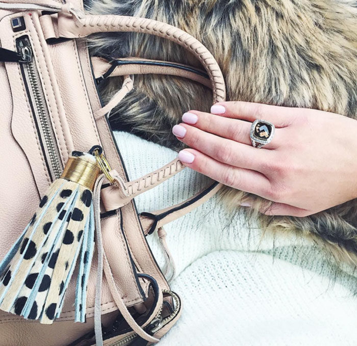 Detail shot, rebecca Minkoff, david yurman, leopard tassel