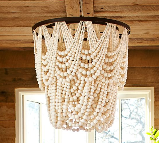 pottery barn, chandelier, beaded