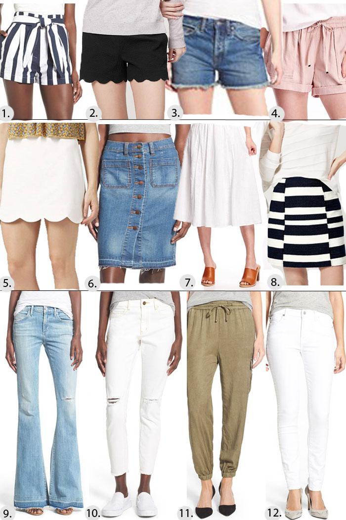 bottoms for Spring, denim, shorts, loft, nordstrom, skirt