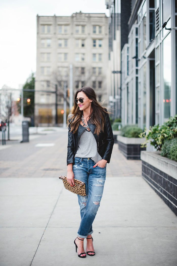 Distressed denim, leather jacket, squash blossom necklace, fashion blogger