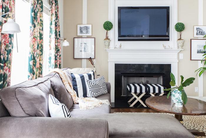 Living Room, Family Room, Leopard Rug, Floral drapes