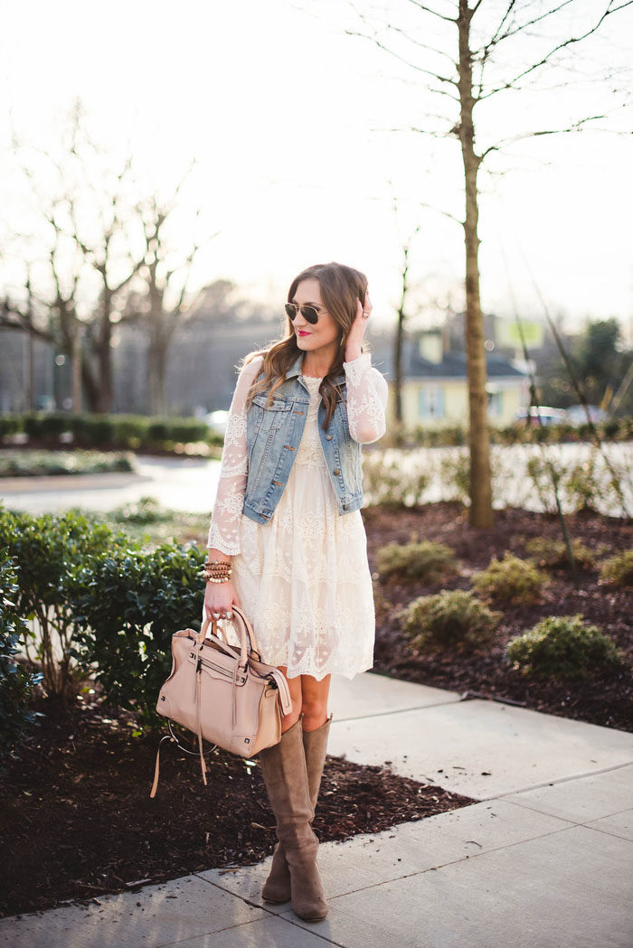 lace dress, denim vest, rebecca Minkoff, romantic, lace