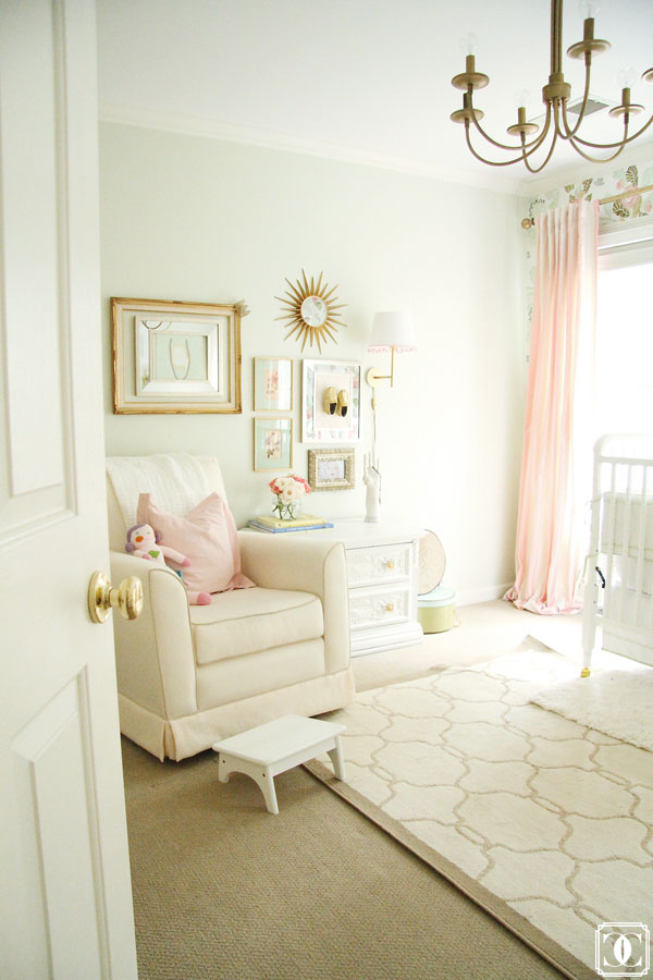 nursery, girl nursery, glam, anthropologie wallpaper, floral wallpaper