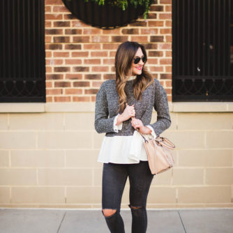 peplum top, distressed denim, wedge boot, rebecca minkoff