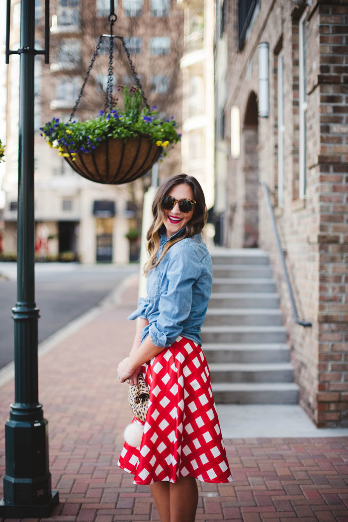Plaid Skirt, Chambray top, chicwish, valentines day, date night
