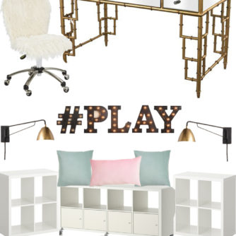 mood board, play room, office, bamboo, kilim