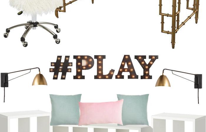 mood board, play room, office, bamboo, kilim
