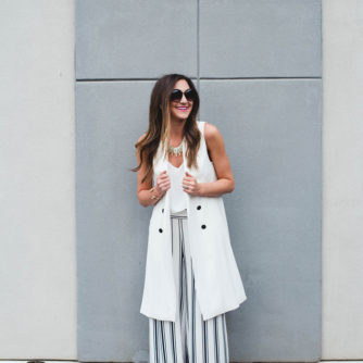 Trench Vest + Wide Leg Trousers